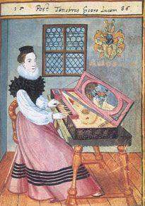 David Brentel 1588, Dame am Virginal  Aus dem Stammbuch des  Anton Weihenmayer