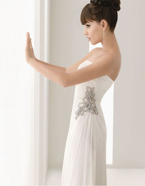 Pretty sheath / column natural waist chiffon over satin wedding dress,Style No.0bg00337,US$247.00   Read More:    http://weddingscasual.com/index.php?r=pretty-sheath-column-natural-waist-chiffon-over-satin-wedding-dress.html