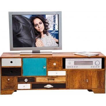 Le meuble TV en bois Babalou est une pièce d'exception grâce à son mélange de couleurs retro et son bois de manguier de grande qualité. Idéal pour personnaliser son salon. Meuble TV en bois Babalou Kare Design