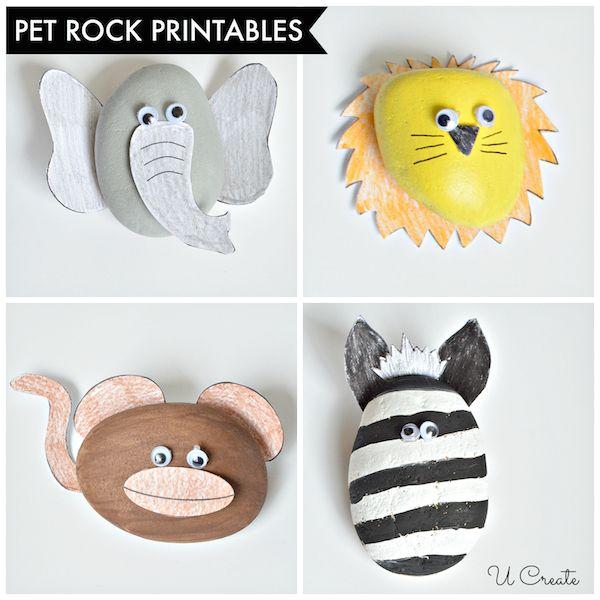 Animales de piedras pintadas