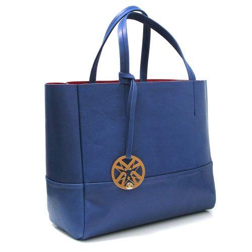 Marta Jonsson Blue Leather Grab Bag with Gold MJ Detail