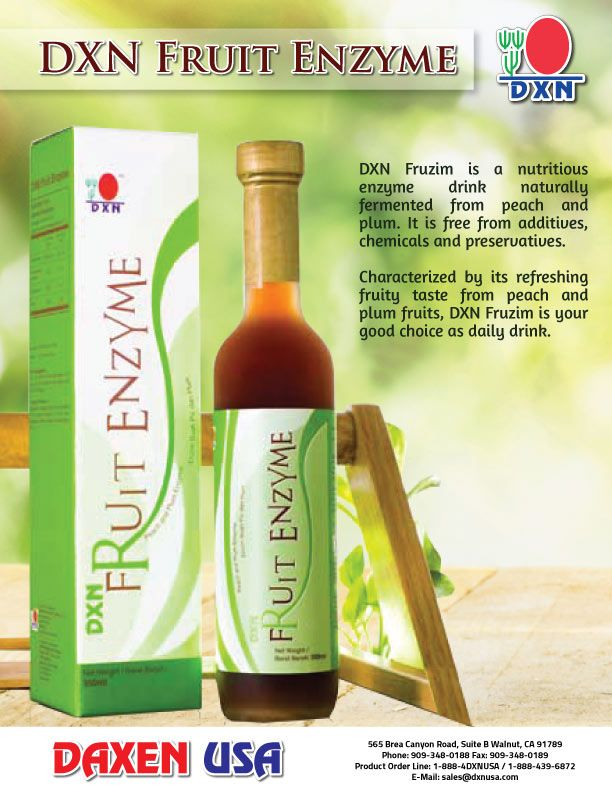 Fruzim DXN Fruzim is a nutritious enzyme drink naturally fermented from peach and plum. Characterized by its refreshing fruity taste from peach and plum fruits, DXN Fruzim is your good choice as daily drink.  JOIN DXN USA!  https://www.dxnusa.com/cgi-bin/AutoTrack/reg_sponsor.pl?vid=-99.ThisIsAGuest&personalid=310010279