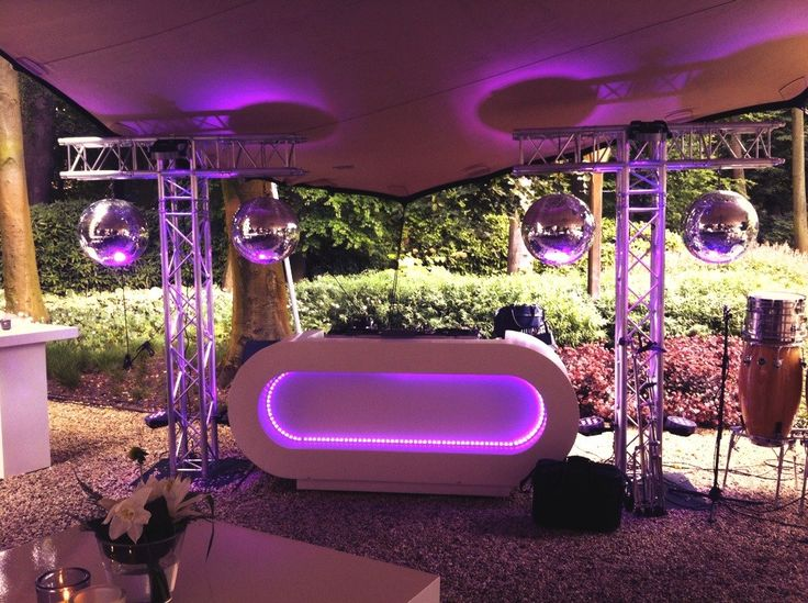 Best 25 dj booth ideas on pinterest dj table dj stand and dj setup outdoor dj setup mirrorballs t truss construction white dj booth with led aloadofball Images
