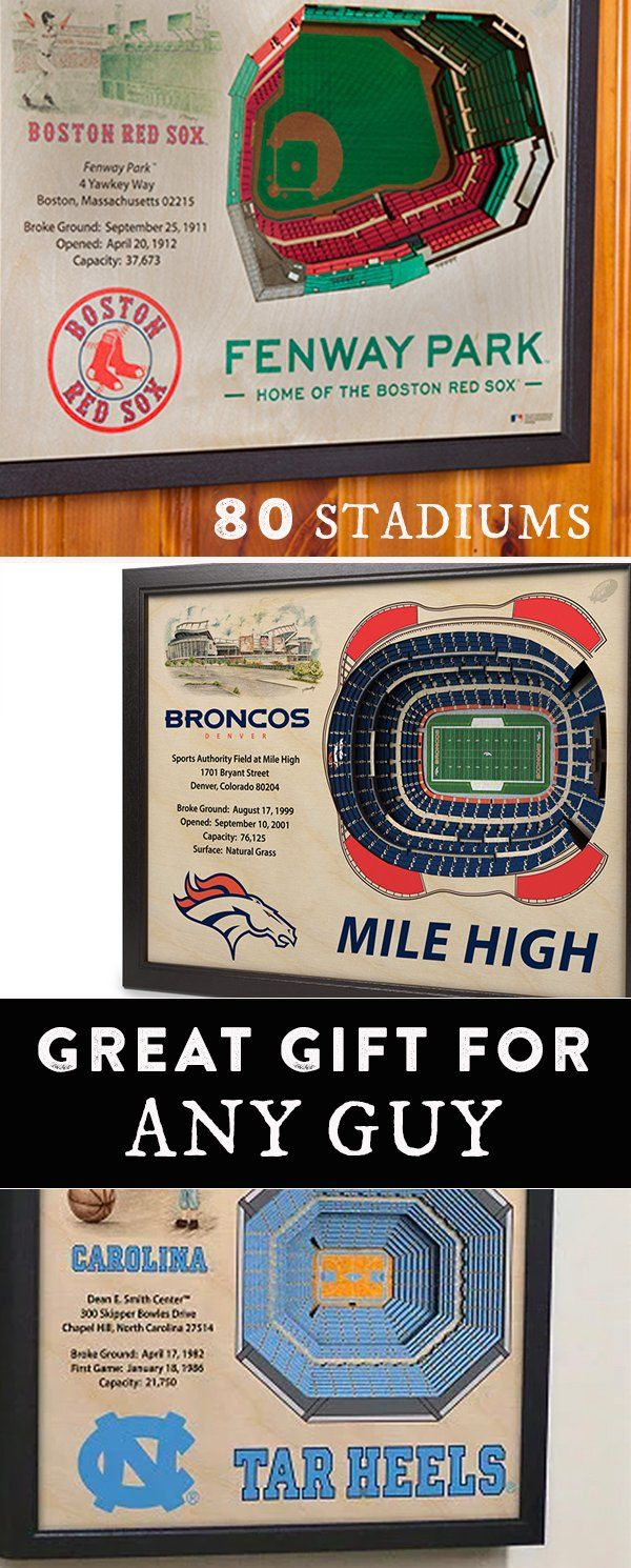 Celebrate your favorite sports team's home turf. These 3D stadium replicas are Made in the USA with layered, precision-cut wood to capture all the details from an aerial view. A great gift for guys or any sports fan.