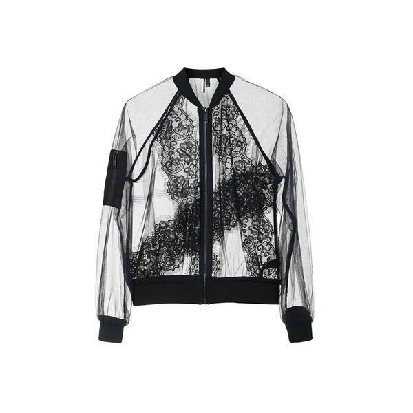 TopShop Sheer Lace Bomber Jacket found on Polyvore featuring outerwear, jackets, coats & jackets, jumpers, black, topshop, blouson jacket, topshop jacket, flight bomber jacket and bomber style jacket