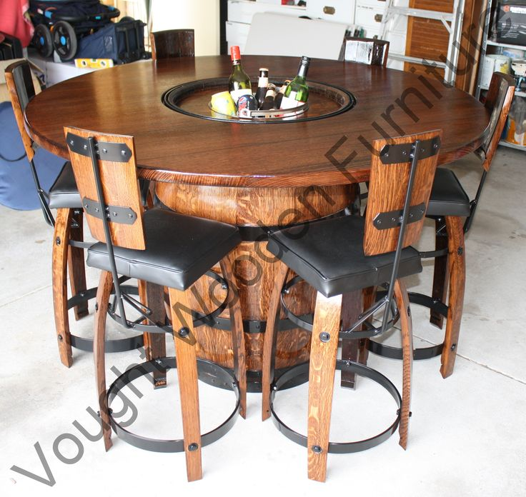 Wine barrel bistro table,  First order out for 2014   http://voughtwoodenfurniture.id.au/wine-barrel-bistro-table/4580541558