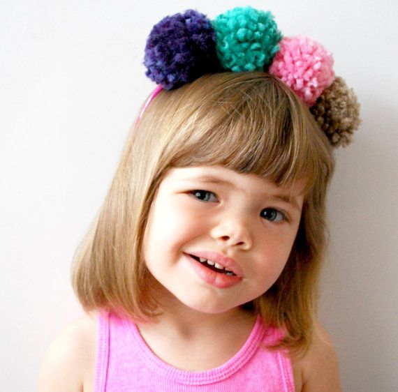 SALE Mini Pompom Headband Crown Colorful by LittleKnittyThings