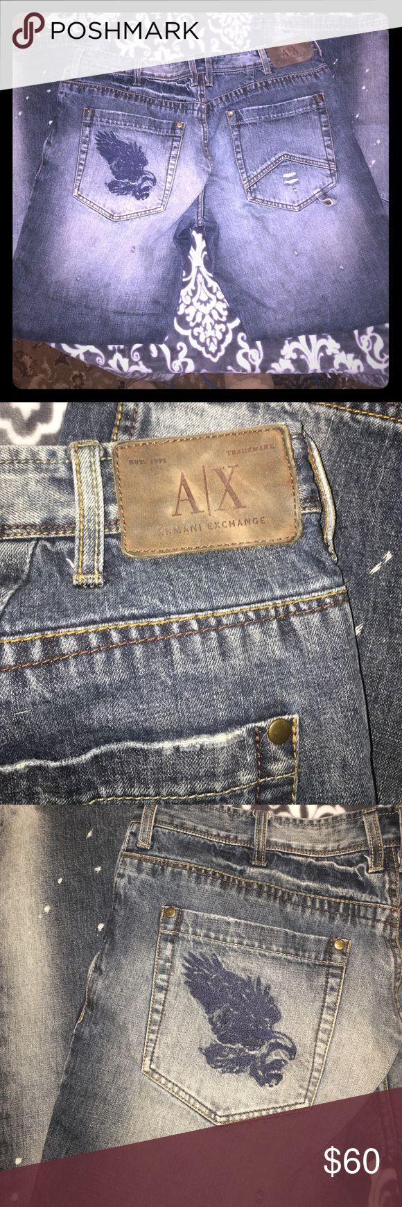 """Men's Armani Exchange Distressed Jeans 36 Long Men's Armani Exchange Distressed Style Blue Jeans, with a design on the rear pocket. Size 36 Long. Very Rare. Everything is our """"closet"""" is from our actual closets and it must go! We accept 95% of first offers, with no back and forth haggling, we just want these excess clothes gone. Check out our closet and make it a bundle. A/X Armani Exchange Jeans Relaxed"""