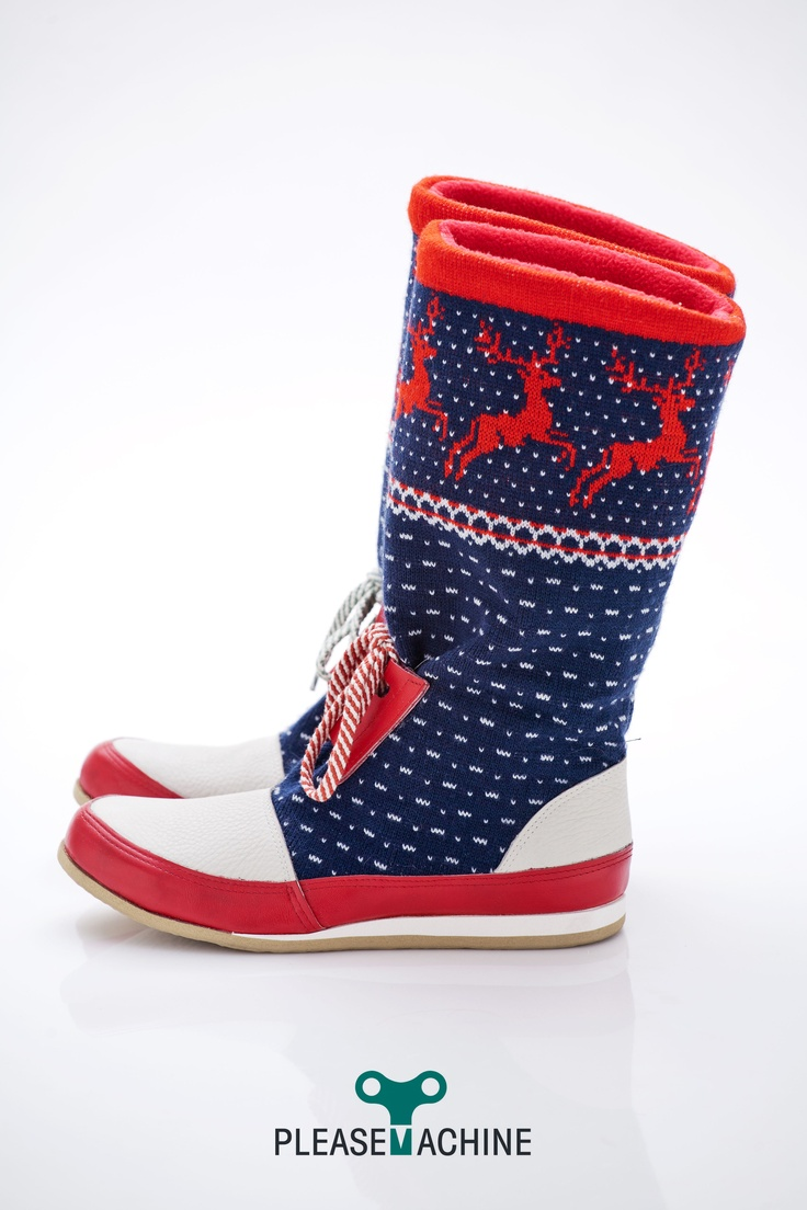 Recycled fabric with rain deers + red and white leather  Designer Snow Boots for Her  Winter 2013