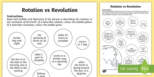 Earth Rotation And Revolution Worksheet Earth Rotation Rotation Revolution Rotation Vs Revolution