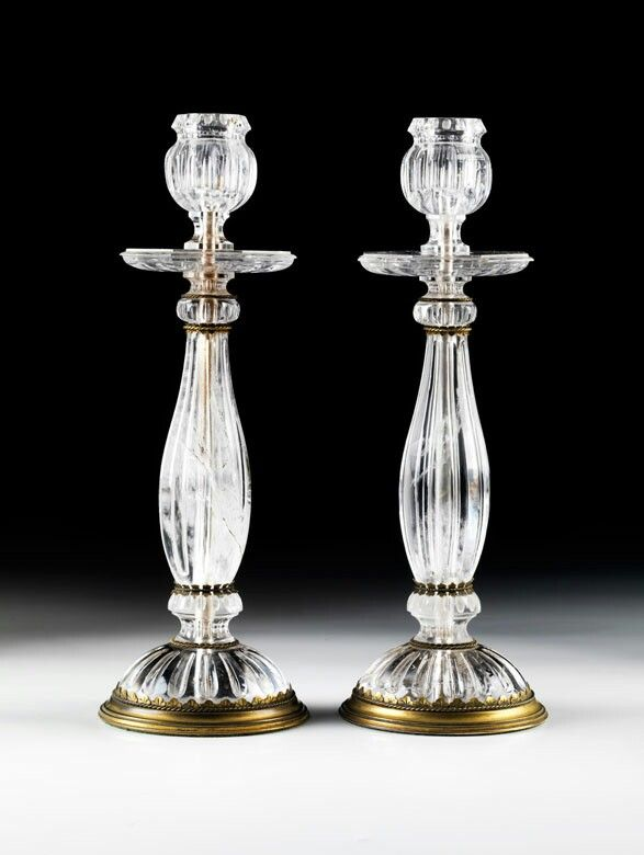 A Pair Of Rock Crystal Candlesticks 19th Century Con Immagini Cristalli