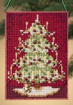 Mill Hill Victorian Tree - Beaded Cross Stitch Kit. Kit includes: Beads, treasures, perforated paper, floss, needles, chart and instructions. Finished size: 2.5