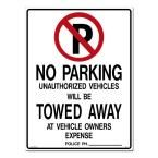 18 in. x 24 in. Black and Red on White Styrene No Parking with Symbol Sign, White With Red And Black