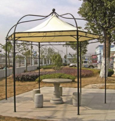 Profi Pavillon MODENA in stabiler Ausführung zu besonders attraktivem Preis. Dachbespannung aus wasserdichtem PVC-beschichtetem Polyester (250g/m²), écrufarben.