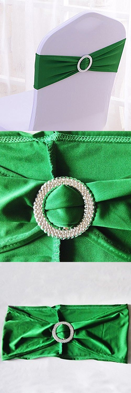 V-Dragons Stretch Chair Cover Band With Buckle Slider Sashes Bow Wedding Banquet Party Decorations (50, Dark Green)