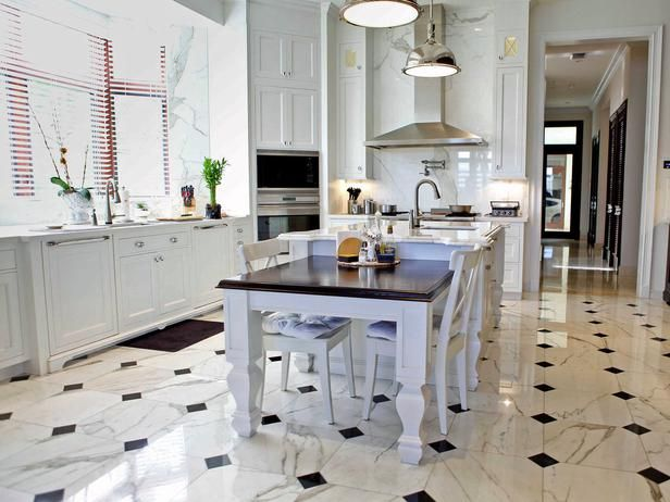 Marble: High-End Style - Once reserved for only the most exclusive of settings, marble is becoming more common. Marble still carries an air of sophistication and exclusivity, but you can incorporate it through your kitchen flooring for a timeless look.