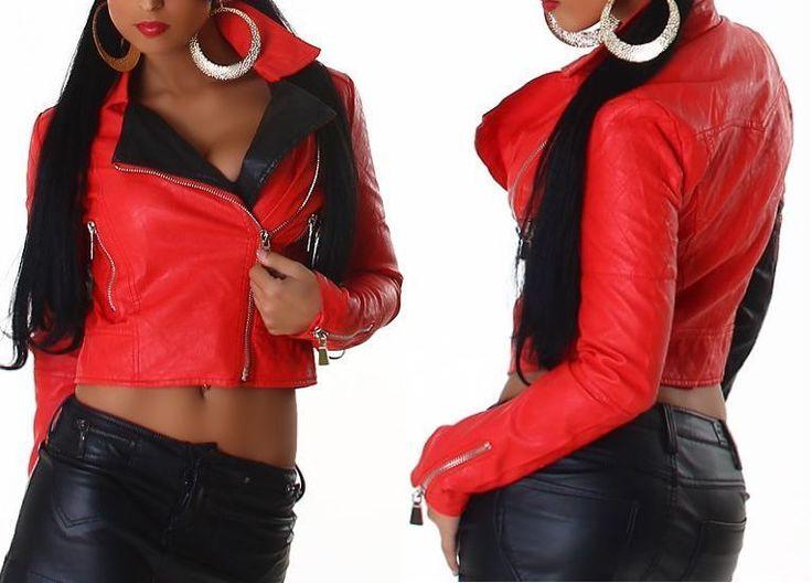 NEU Sexy Damen Bikerjacke Jacke M 38 Kunstleder rot schwarz Bolero Lederjacke PU . Jetzt kaufen! http://www.fashion-darling.de
