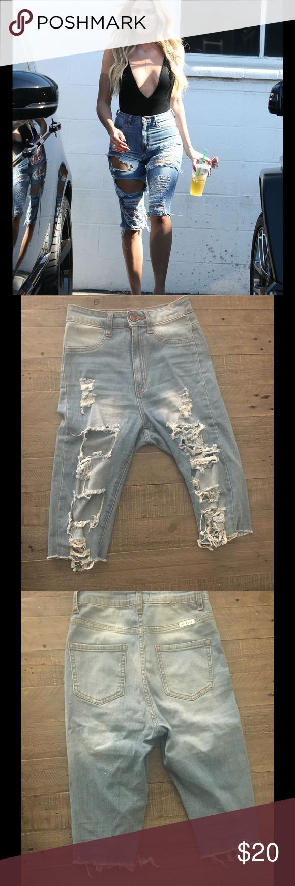 Distressed Jean Shorts Kardashian style denim bermuda shorts. High waisted and distressed. I took the tags off but never got around to wearing them. So they are in the exact new condition I bought them in Fashion Nova Shorts Jean Shorts