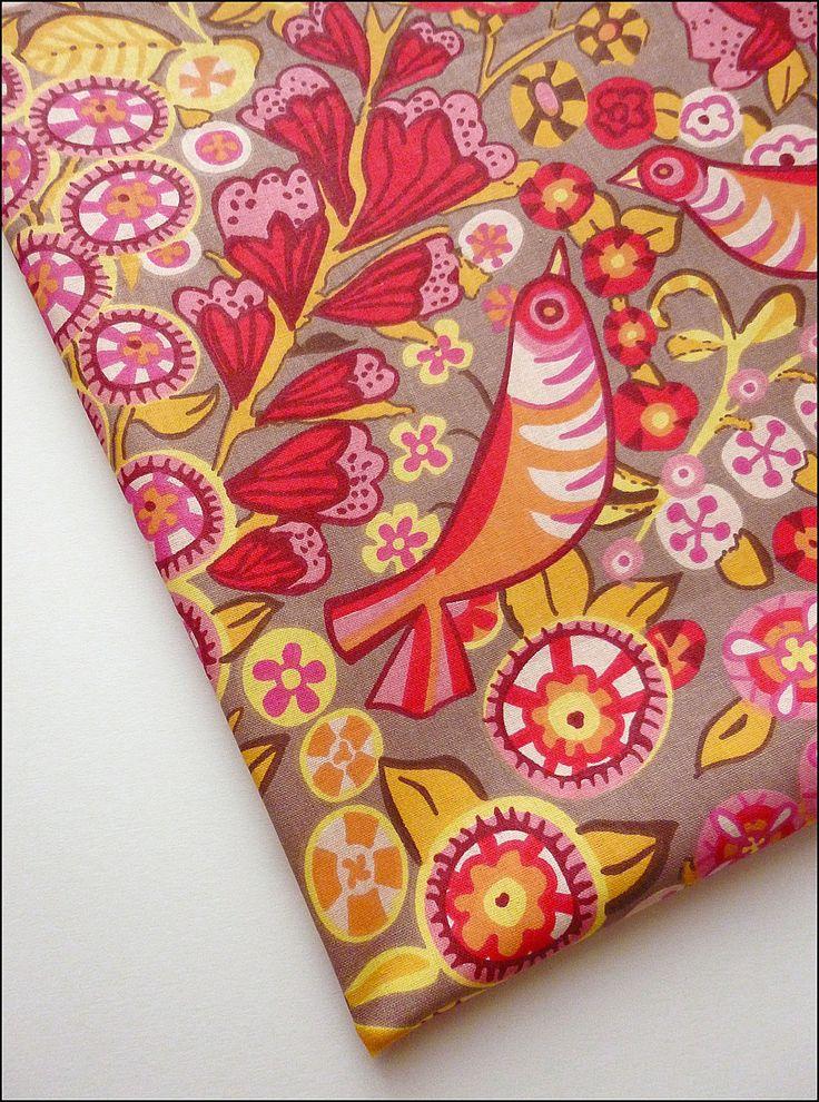 Tissu au mètre coton motifs oiseaux, fleurs, feuilles : Tissus Habillement, Déco par atomictissus