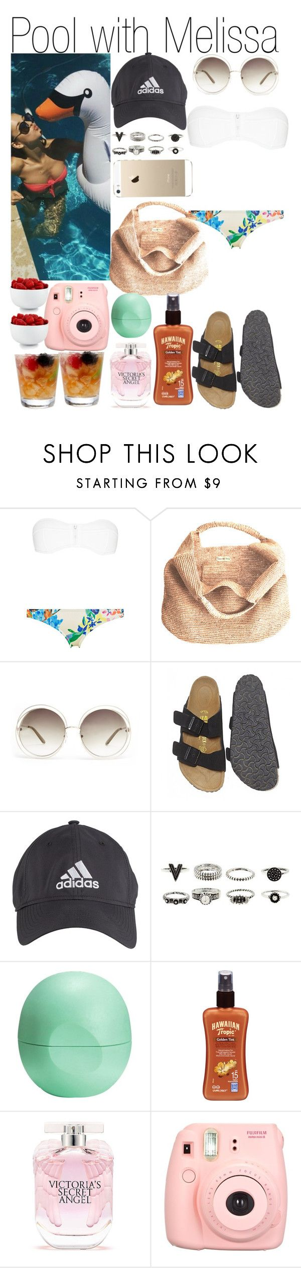 """Pool with Melissa"" by kiksfashion ❤ liked on Polyvore featuring Flora Bella, Chloé, Birkenstock, adidas, Eos, Hawaiian Tropic, Victoria's Secret, The Cellar, women's clothing and women's fashion"