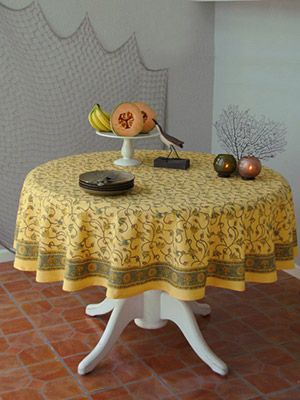 Waltz of the Vines ~ Yellow Floral Summer Beach Round Tablecloth