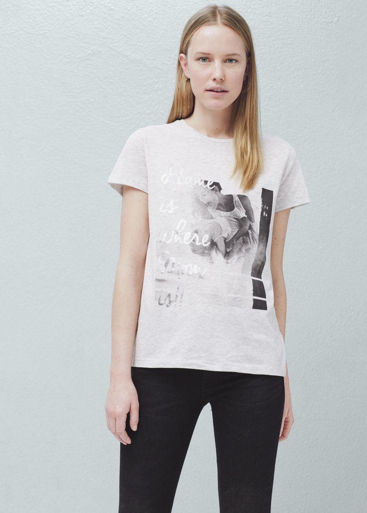 Bawełniana koszulka ze wzorem | MANGO