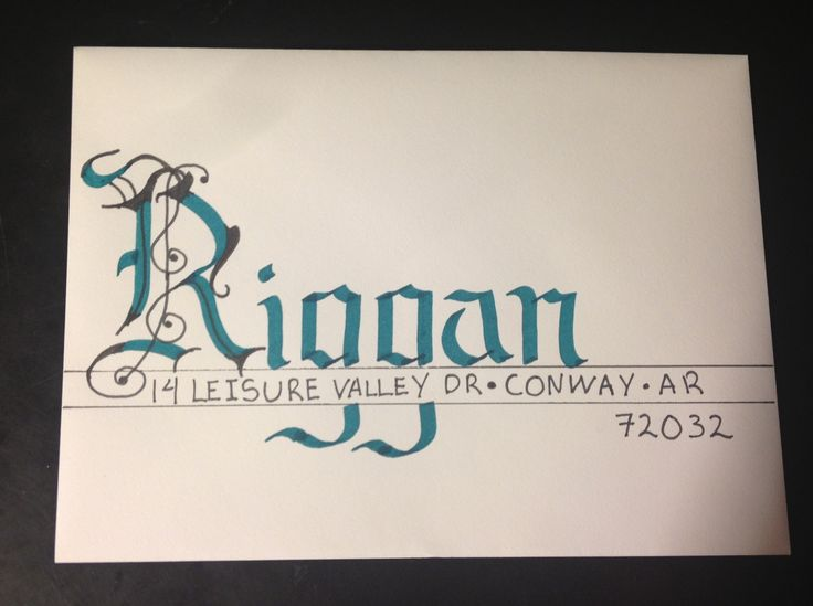 Hand addressed envelope with fun colors done in calligraphy