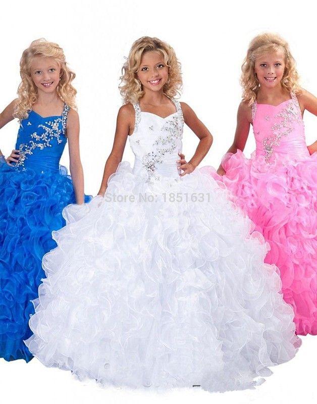 2017女の子のページェントドレス夜会服vネックフリルオーガンジーロイヤルブルークリスタルフラワーガールのドレス初聖体