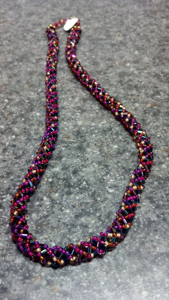 Purple Varigated  Russian Spiral Necklace by teresadelosh on Etsy, $50.00