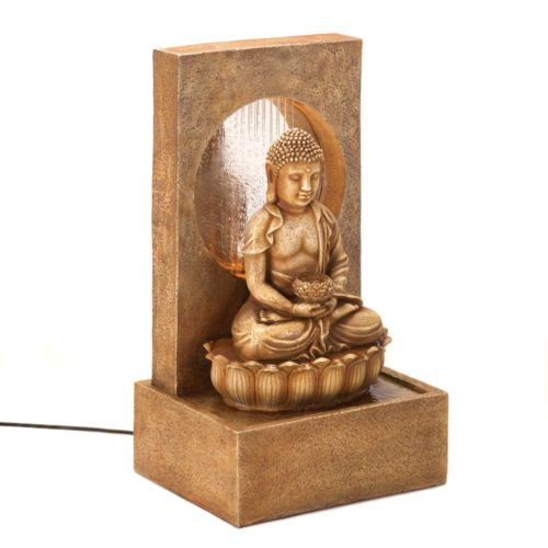 Buddha Statue Sculpture Waterfall Curtain Desk Table Top Electric Water  Fountain
