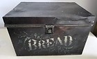 Antique Victorian Country Painted & Stenciled Tin Metal Bread Box