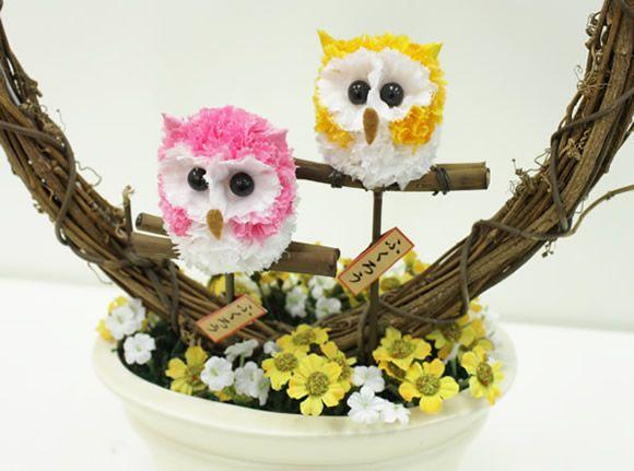 Ideas y material gratis para fiestas y celebraciones Oh My Fiesta!: Mini buhos muy bien hechos. Mascotas florales.