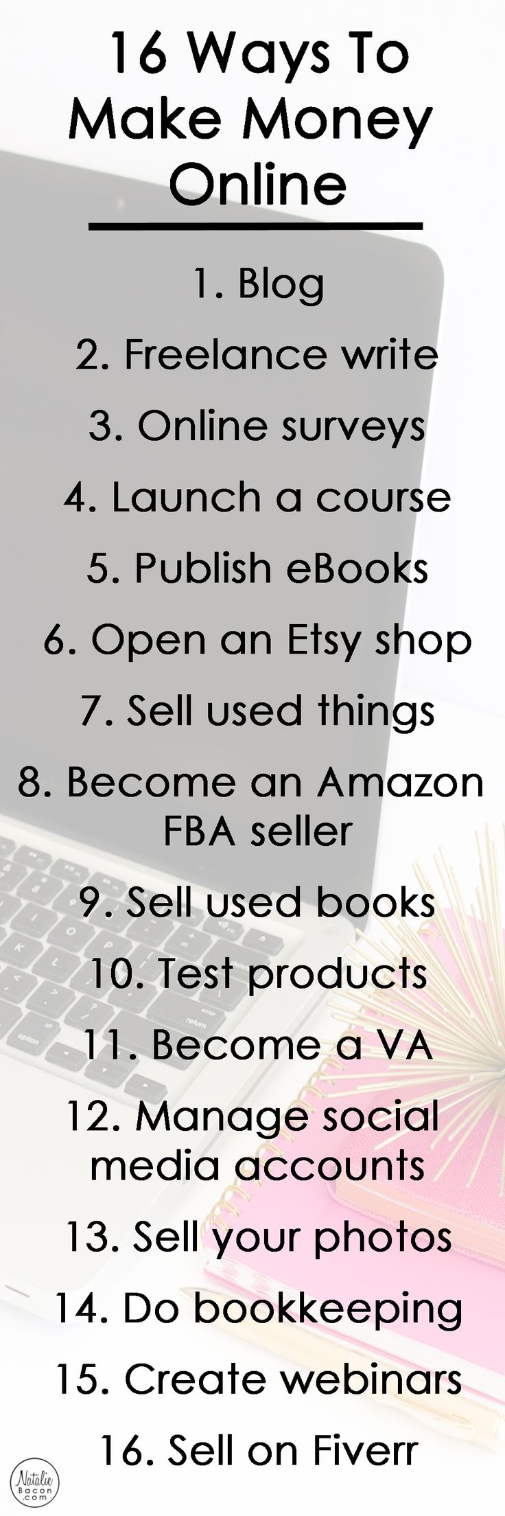 16 ways to make money online by Natalie Bacon