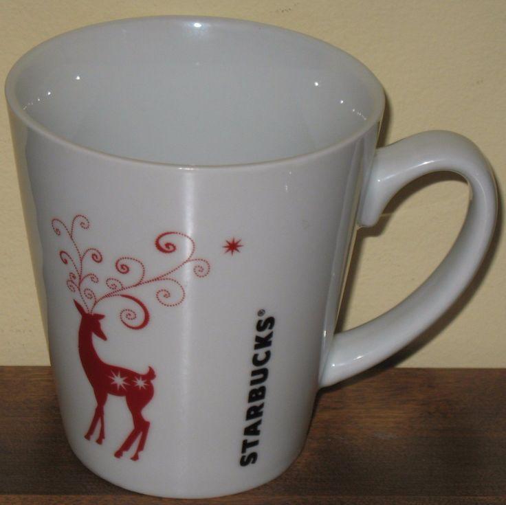 Starbucks Christmas Coffee Mug Cup Red Reindeer 2011 13 oz Holiday | eBay #starbucks #christmasmugs