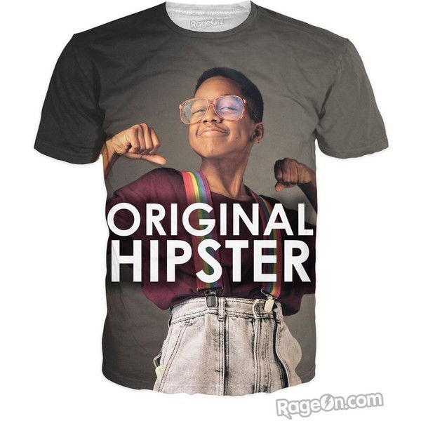 Steve Urkel Original Hipster T-Shirt exclusively from RageOn! ❤ liked on Polyvore featuring tops, t-shirts, shirts, hipster tees, hipster shirts, hipster tops, t shirts and shirts & tops