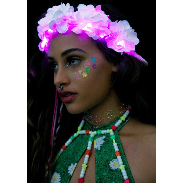 J Valentine White Rose Light-Up Flower Crown ($45) ❤ liked on Polyvore featuring accessories and hair accessories