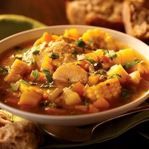 Sancocho In large pot, combine meat (pork/beef, bones, water and salt. Bring to boil; skim, lower heat and simmer one hour. Stir in corn and green plantain. Cook 1/2 hour. Stir in yucca, ñame and malanga. Cook 1/2 hour. Stir in sweet potatoes, pumpkin, Sazón and Sofrito. Put ripe plantains on top so they do not dissolve. Cook 1/2 hour or until all vegetables are tender.