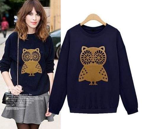 Golden Print Owl Sweat Shirt – Buyvel