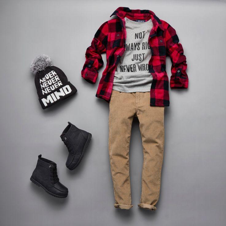 Boy's Fashion | Kidswear | Outfit | Graphic Tee | Plaid Fleece Button-Down Shirt |  Corduroy Pants | Pom Pom Beanie | Boots | The Children's Place