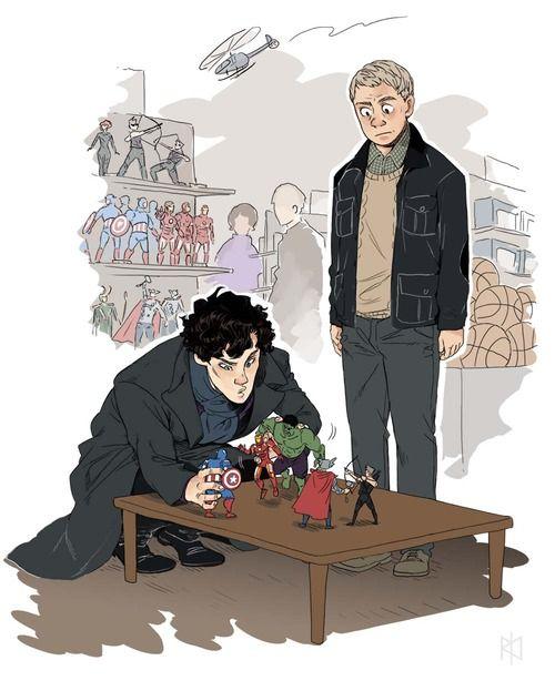 Sherlock playing (No, Jawn, he's setting up a crime scene reproduction, gawd.)