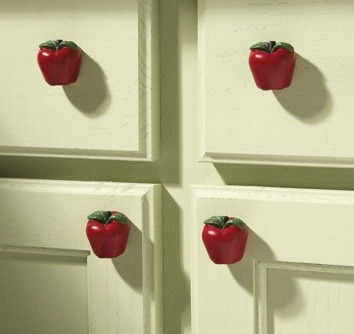Country Apple Decor Kitchen Drawer Pulls Set Of 6 New