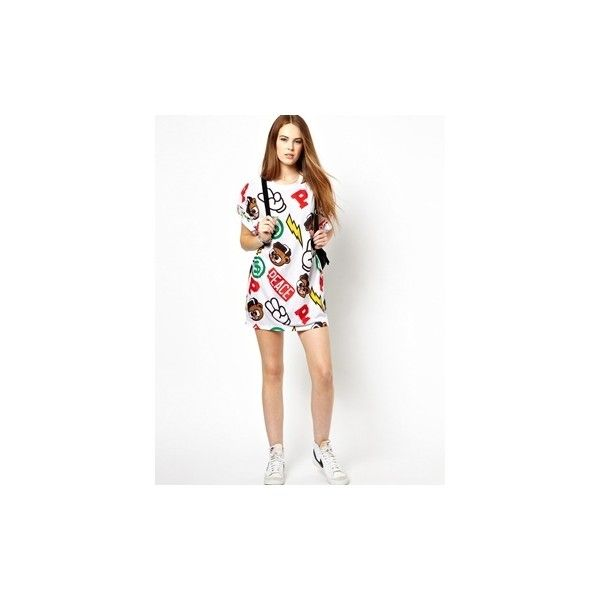 Panuu All Over Print T-Shirt Dress (Exclusive to ASOS) ($34) ❤ liked on Polyvore featuring dresses, little mix, jade thirlwall, tee dress, t-shirt dresses, t shirt dress, tee shirt dress and jade dresses