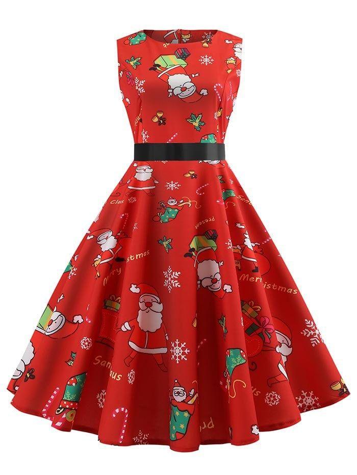 f55a70dd873 Christmas Santa Claus Print Retro Swing Dress