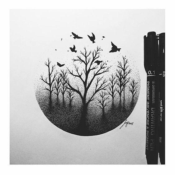drawing cool draw things drawings tattoos pen easy stippling dead tattoo sketches heart pencil instagram shepherd shadows simple tree crows