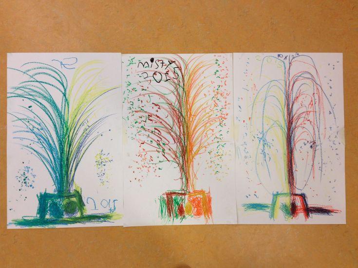 Schrijfdans: Vuurwerk. Met beide handen tegelijk. Muziek (nr. 1 van schrijfdans: de Vulkaan)