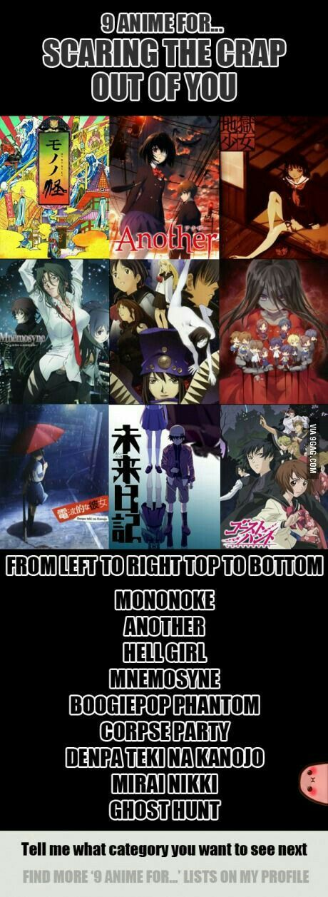 9 anime for...scaring the crap out of you, text, Mononoke, Another, Hell Girl, Mnemosyne, Boogiepop Phantom, Corpse Party, Denpa Teki na Kanojo, Mirai Nikki, Ghost Hunt, recommendations; Anime