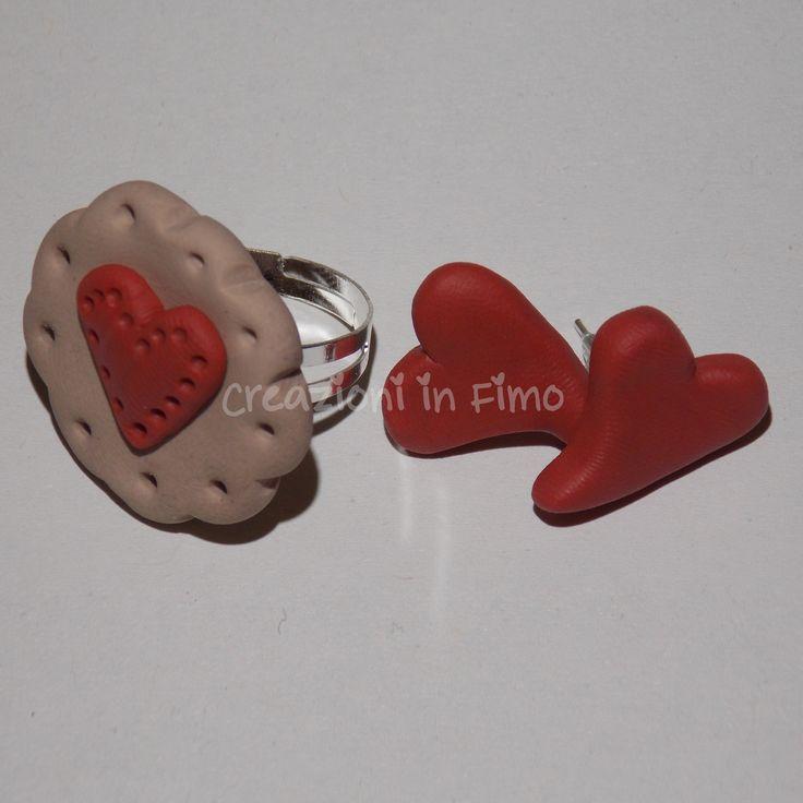 Orecchini in #fimo a forma di #cuore con anello biscottoso :)