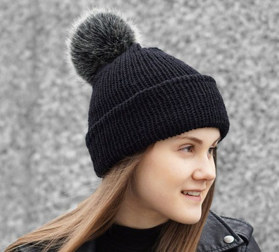 Bobble hat in black merino wool with faux fur bobble, beanie hat with bobble, black hat, winter hat