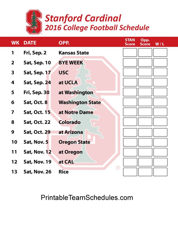Stanford Cardinal Football Schedule 2016. Print Schedule Here - http://printableteamschedules.com/collegefootball/stanfordcardinal.php