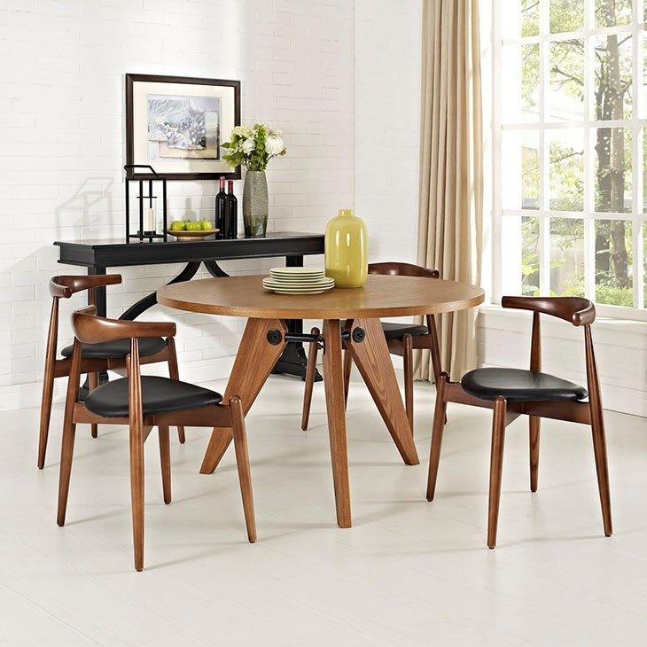 Stalwart Dining Chairs And Table Set Of 5 In Dark Walnut Black